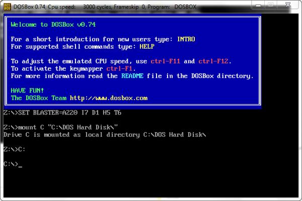 DOSBox 0.74 startup