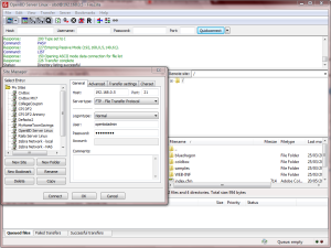 Connecting with FileZilla