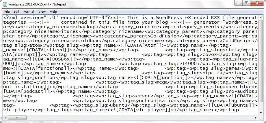 The WordPress eXtended Rss (WXR) Export/Import, XML Document Format