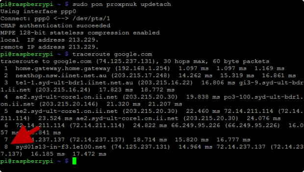 traceroute google.com no route