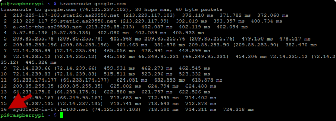traceroute google.com with route