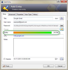 Password quality bar