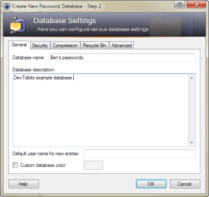 Create New Password Database - Step 2