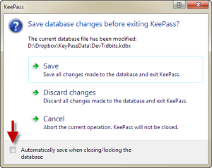 Save database changes before exiting KeePass?