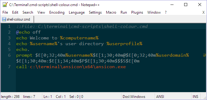 Notepad Editing Shell Colour