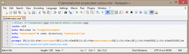 Notepad++ editing shell-colour