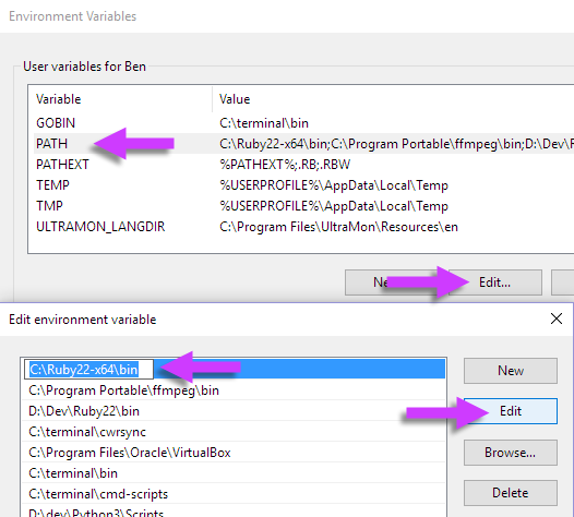 Windows 10 1511 environment variables