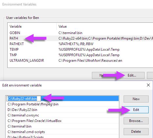 Windows 10 1511 environment variables