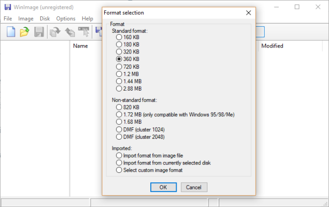 WinImage Format selection
