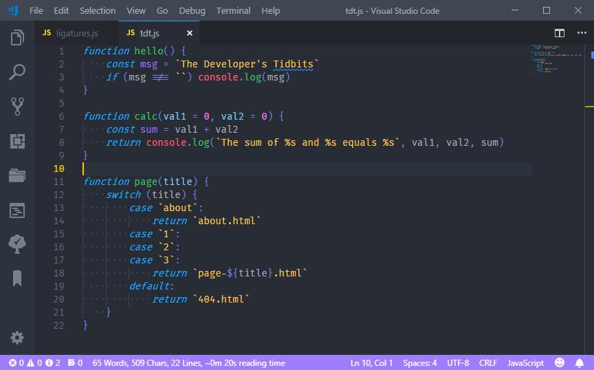 Visual Studio Code withBluloco Dark ItalicandFire Code