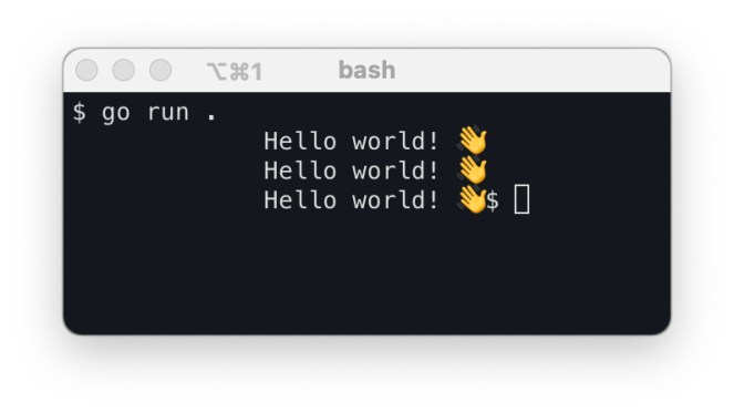 go run output on a macOS bash terminal window showing three different ways to print to standard output.
