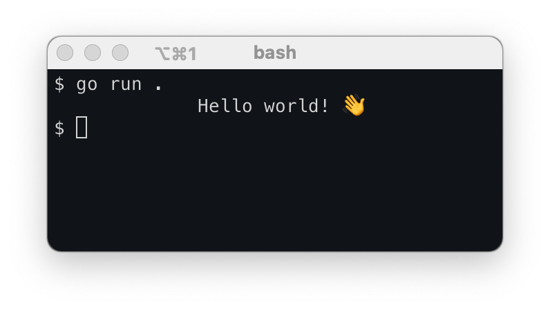 go run output on a macOS bash terminal window showing the use of Center().