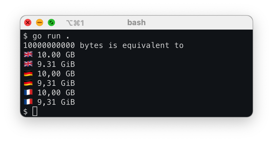 Example of the program displaying the output of 10 GB in multiple locals.